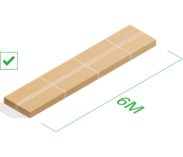 A long parcel with length marker