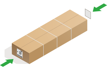 Long parcel with label on both ends